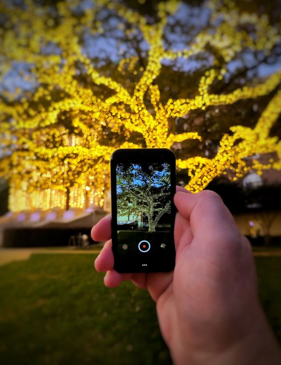 palm phone in action camera