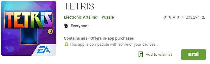 tetris retro game