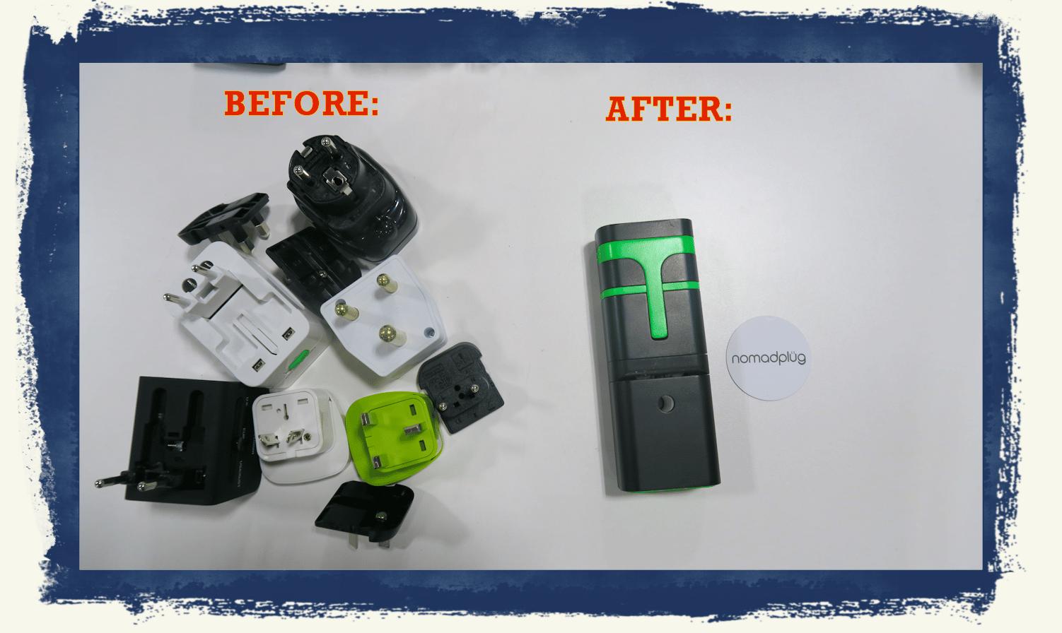 nomadplug travel adaptor before after